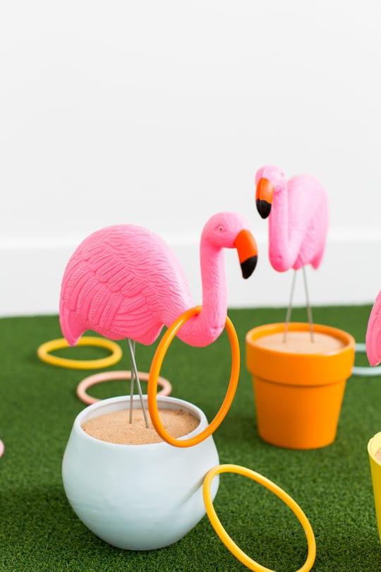 Giant flamingo ring toss