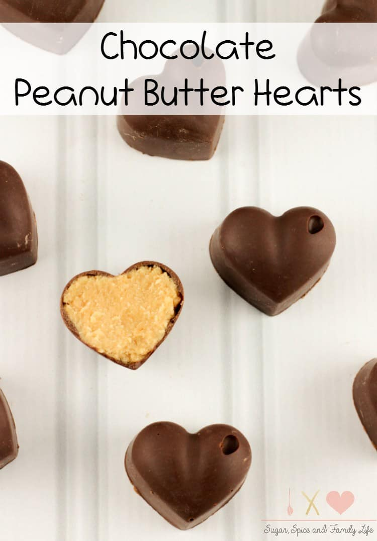 Heart shaped chocolate peanut butter cups