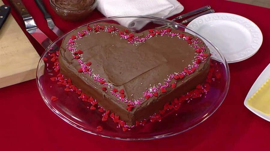 Heart shaped double chocolate cake