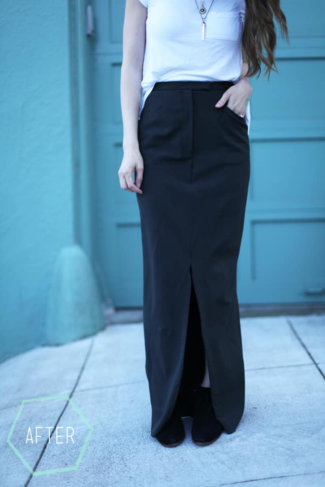 How to make a fitted maxi skirt from trousers