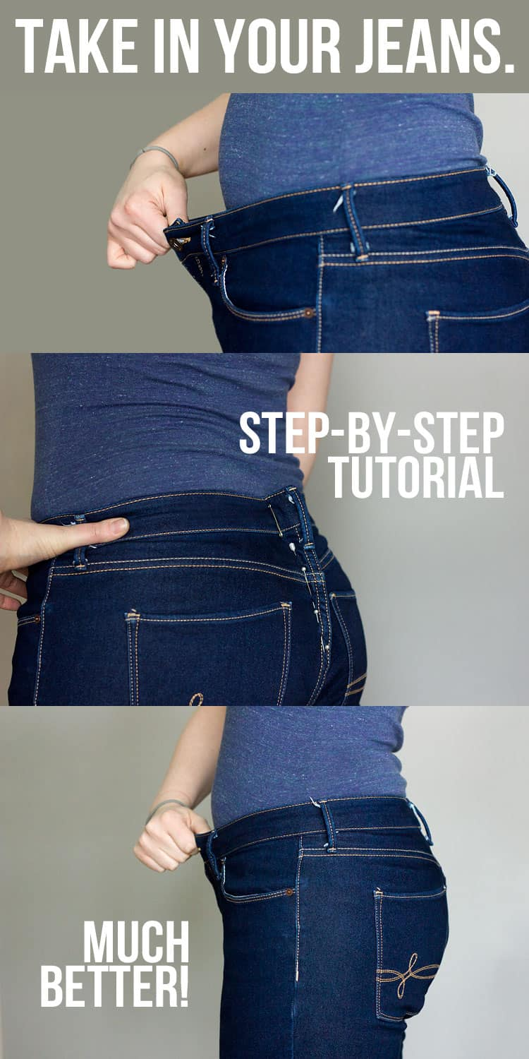 How to take in the waistband of jeans