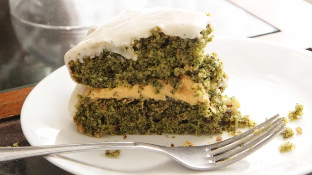 Kale cake with sweet potato filling and cream cheese buttercream