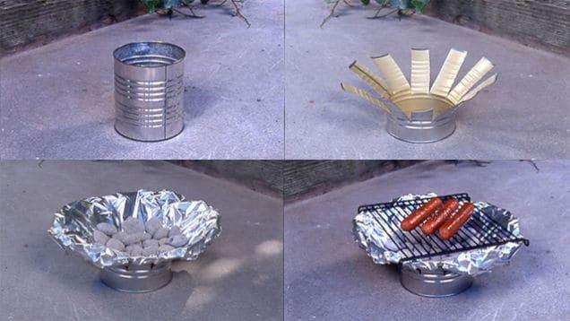 Mini tin can grill