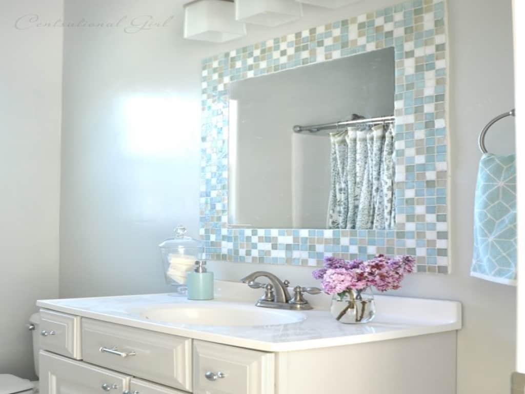Mosaic bathroom tile framed mirror