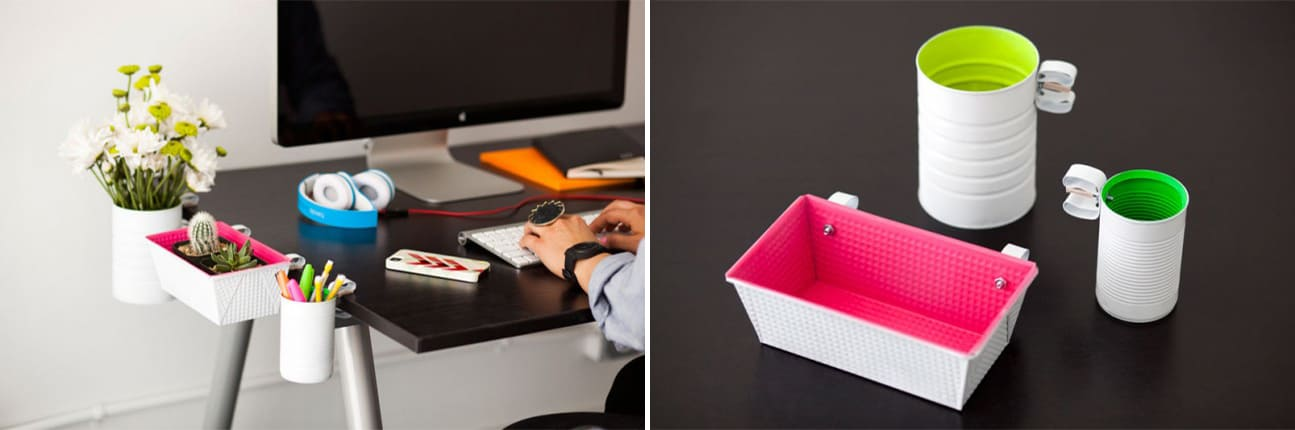 Neon desk edge storage for tiny worktops