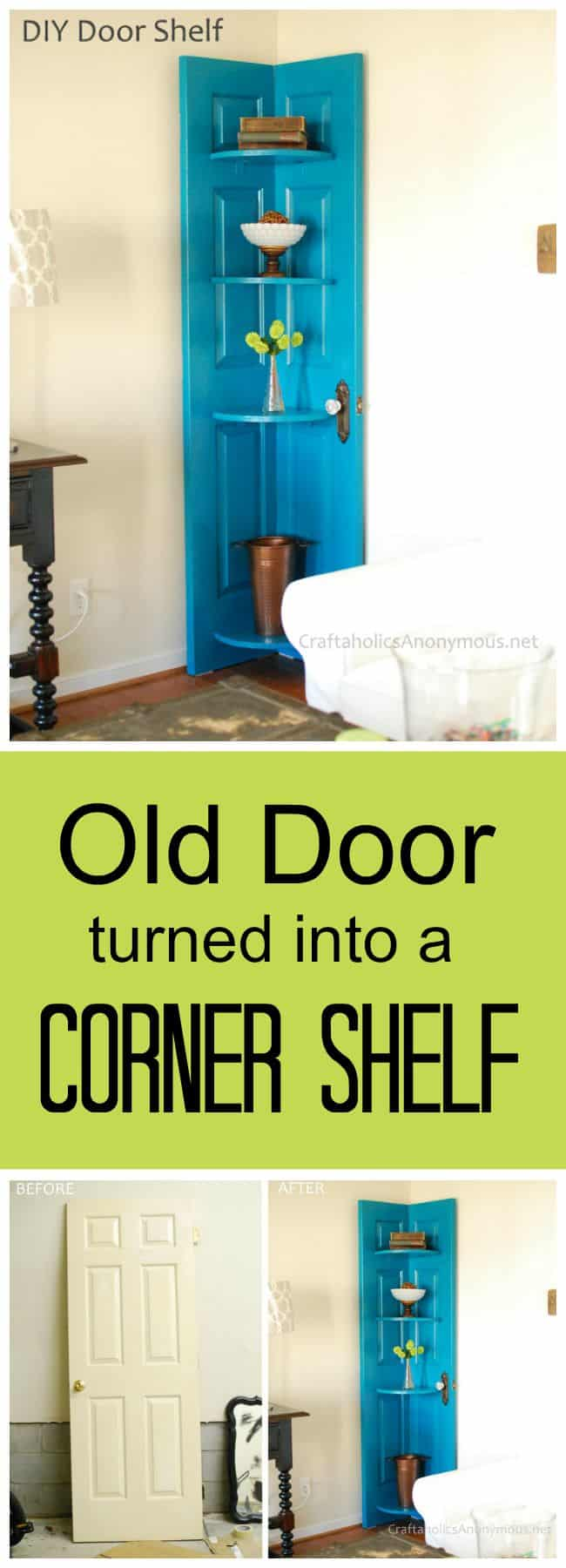 Old door to corner shelf