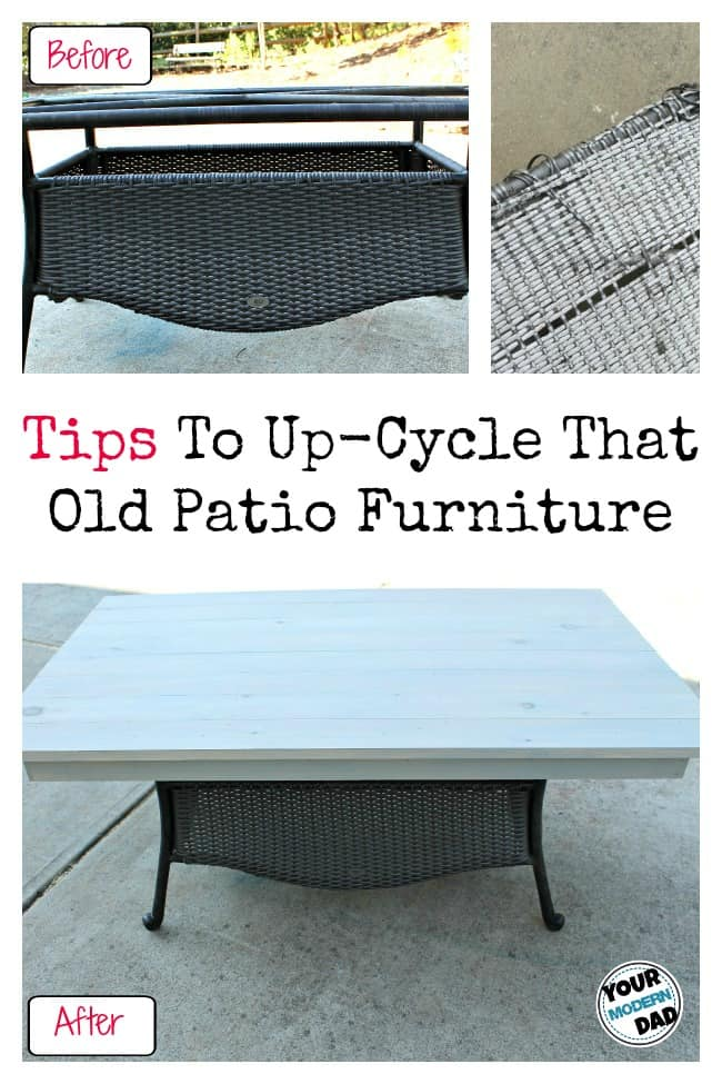 Old patio table to lovely coffee table