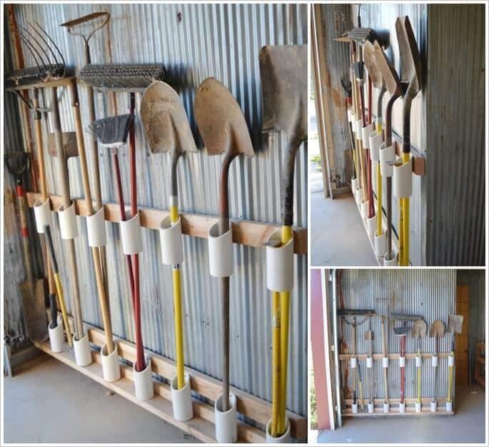 PVC pipe garden tool organizer