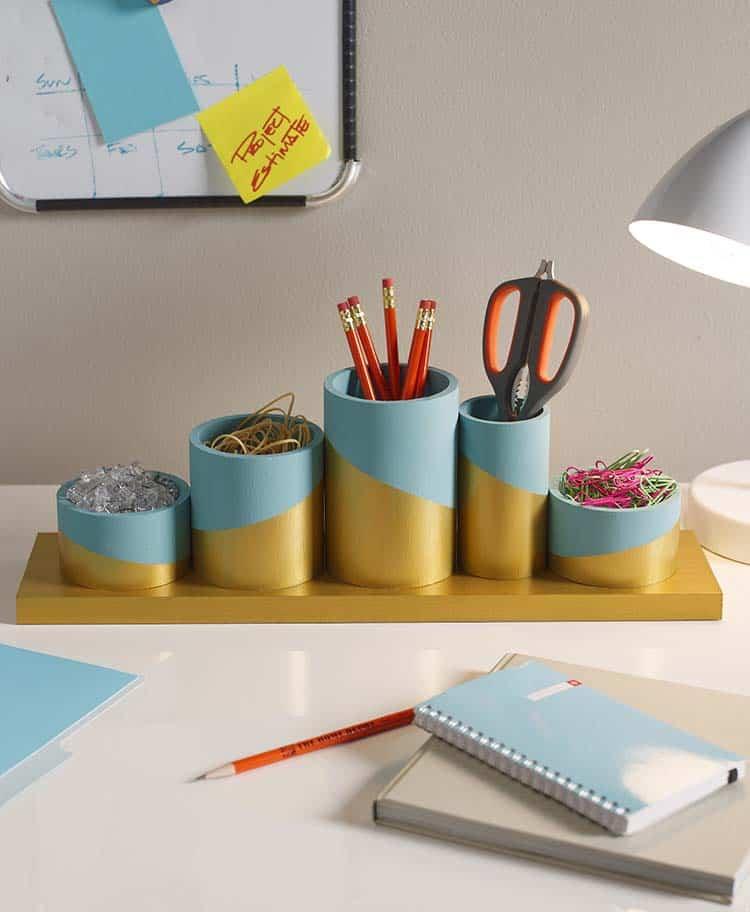 Painted PVC pipe desk organizer