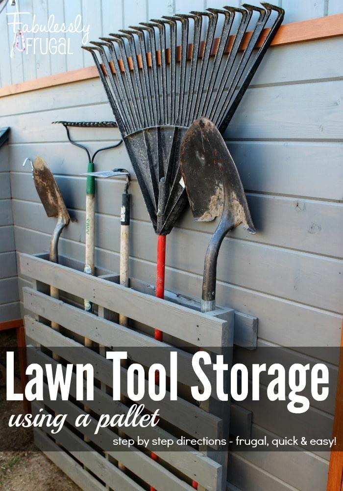 Pallet lawn tool storage
