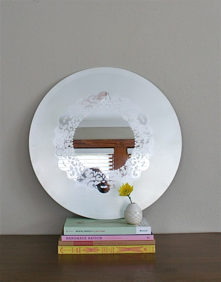 Paper doily glass frosted mirror