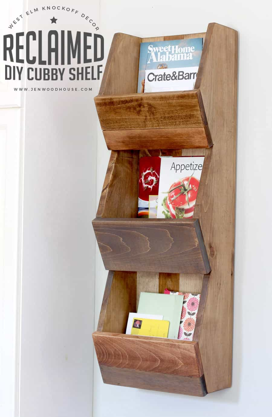 Reclaimed wood DIY cubby shelf