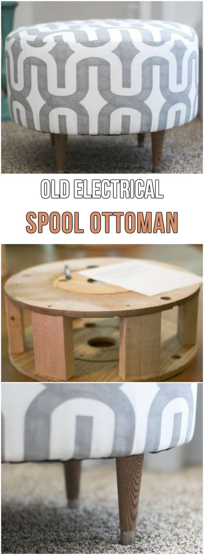 Repurpose electric spool ottoman