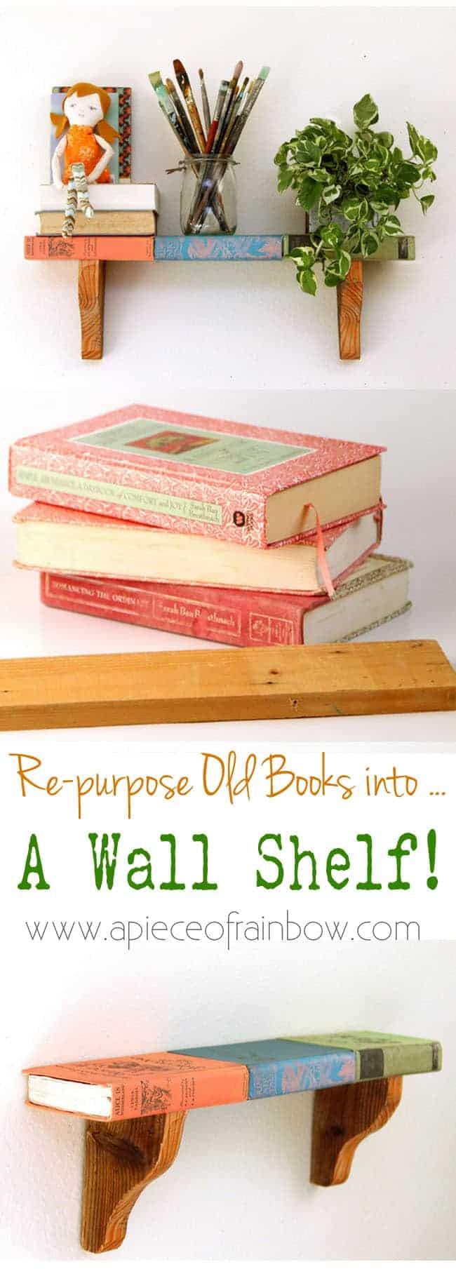 Repurposed books wall shelf