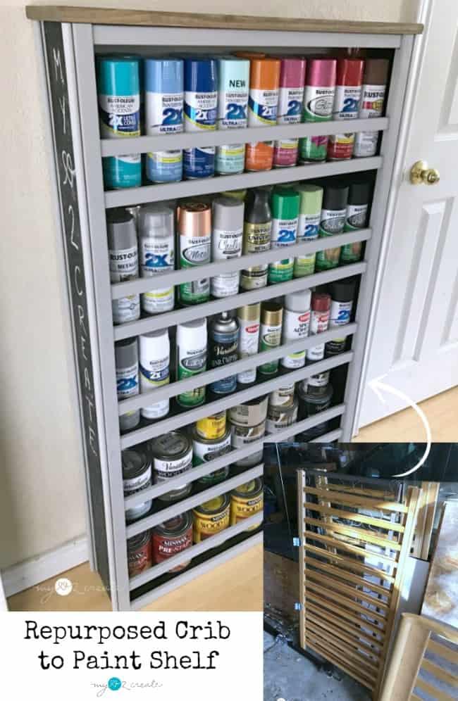 Repurposed crib to paint shelf