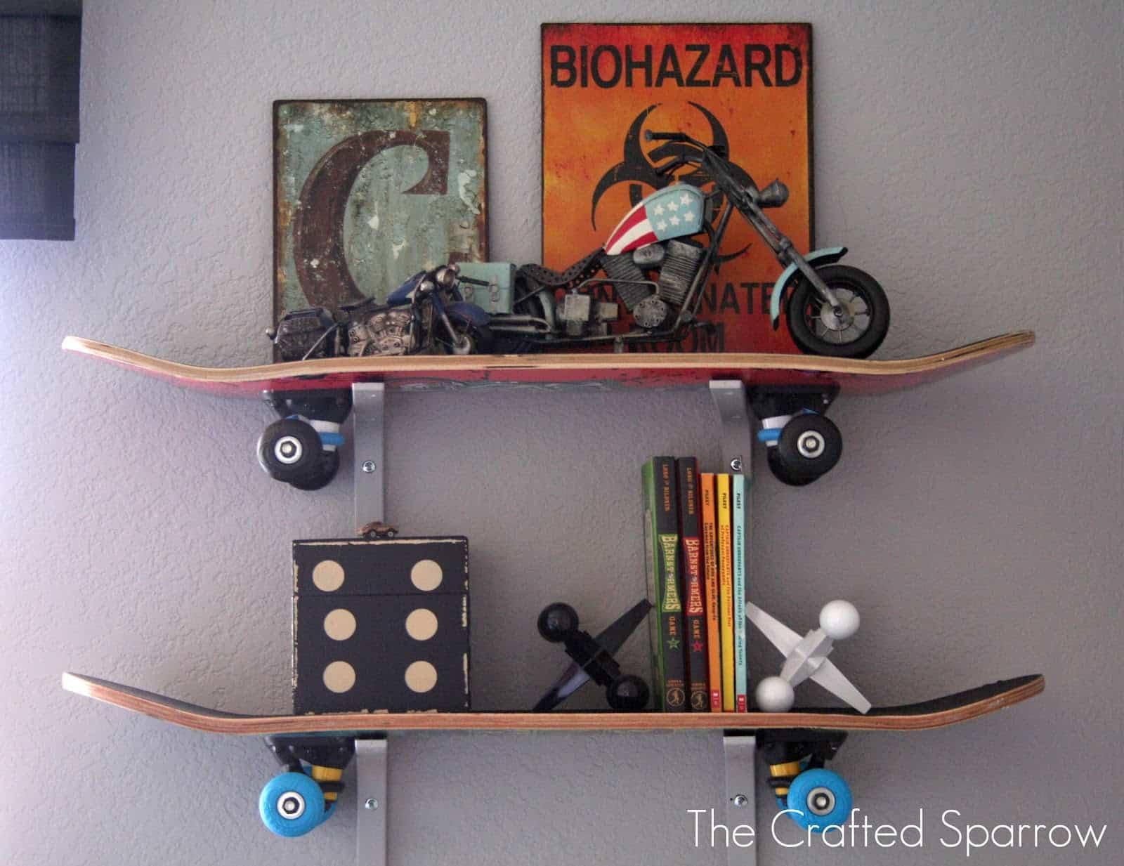 Repurposed skateboard shelves