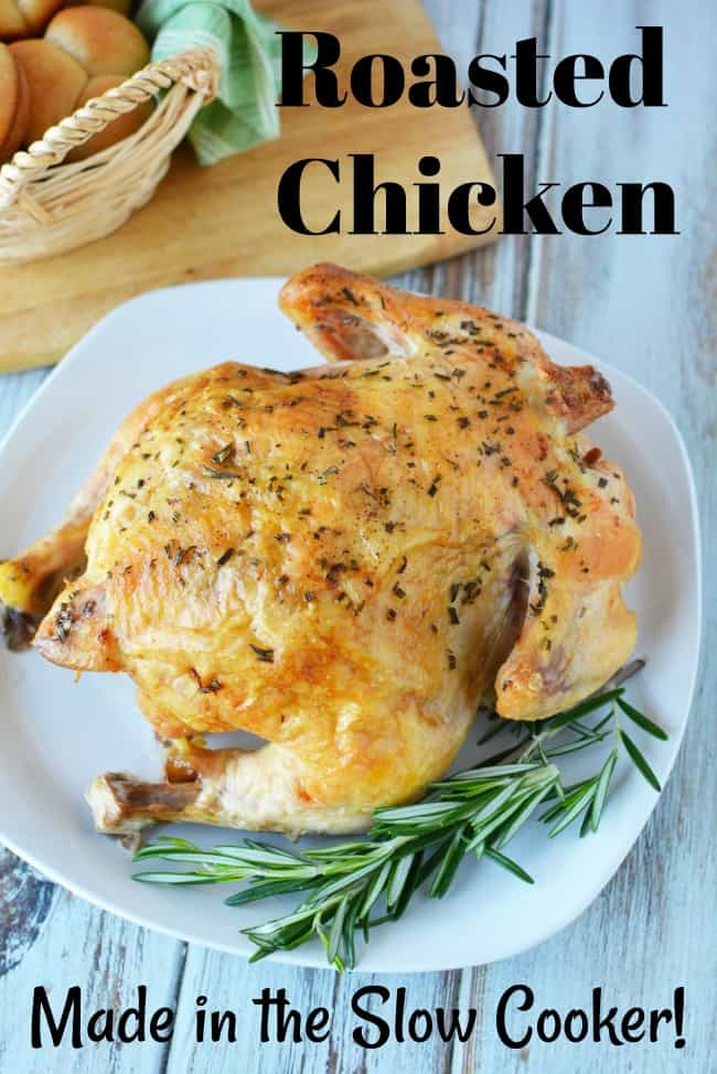 Roasted crockpot chicken with onions and rosemary