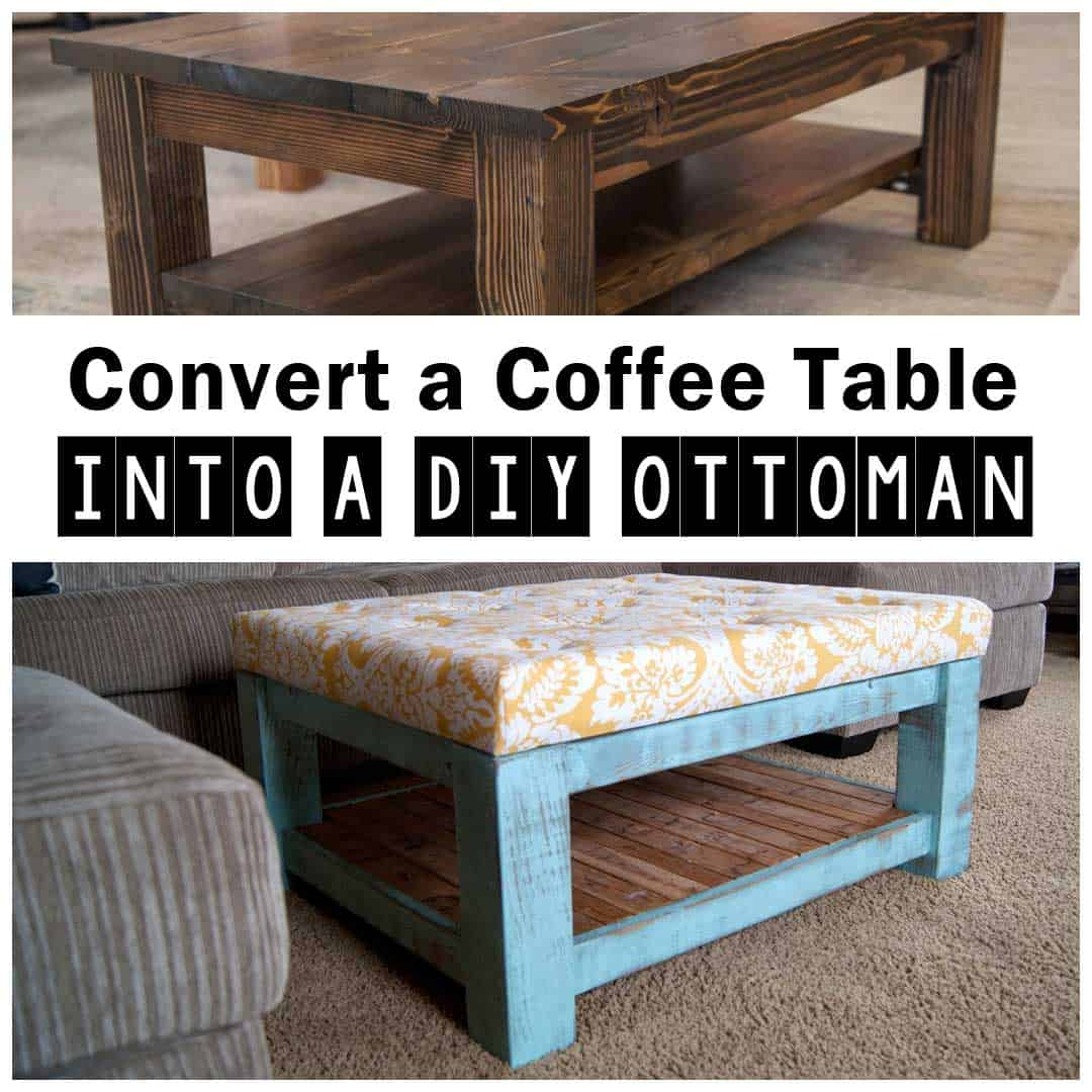 Rustic painted coffee table ottoman