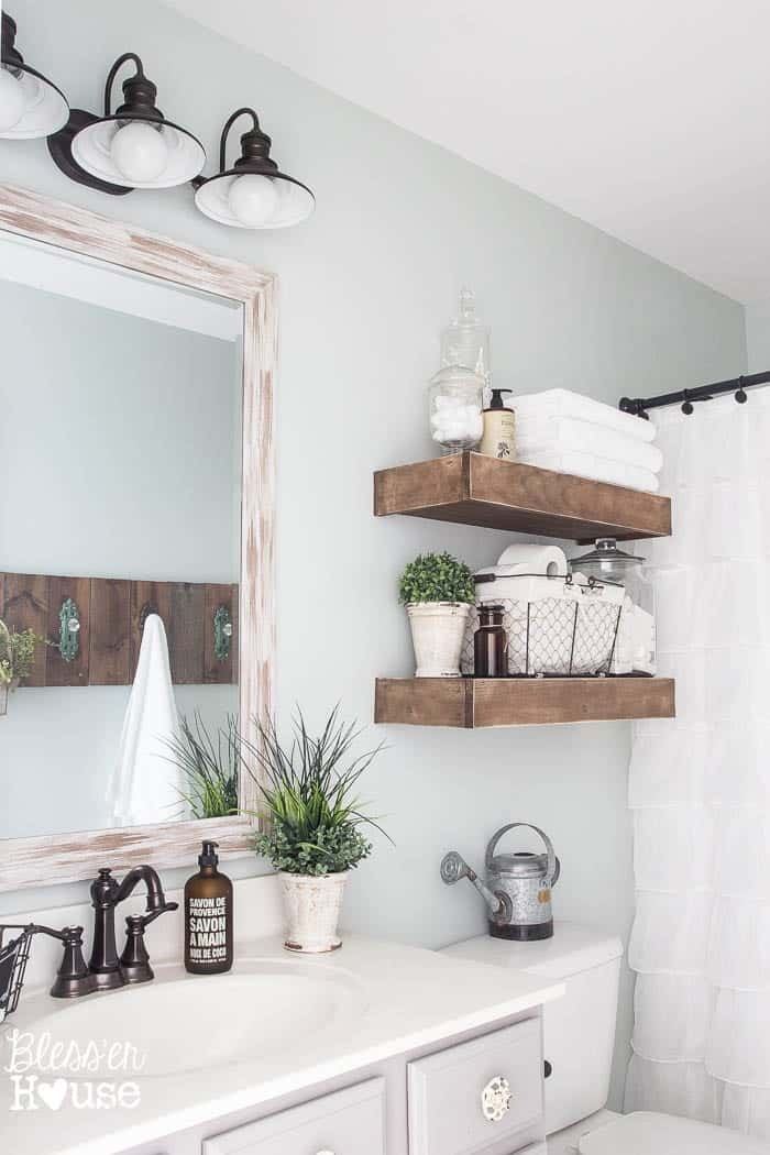 Rustic wood floating wall shelves