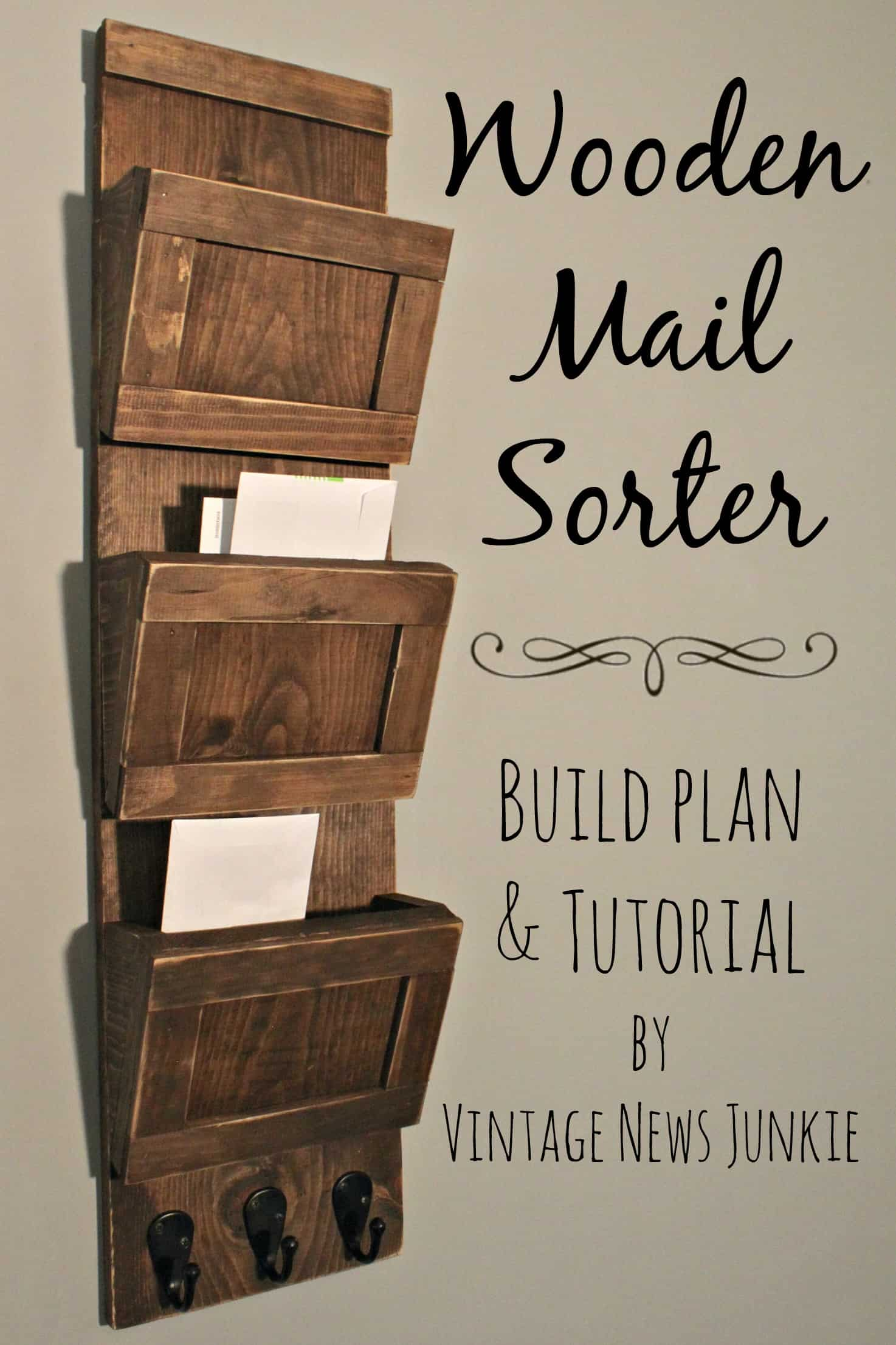 Rustic wooden mail sorter