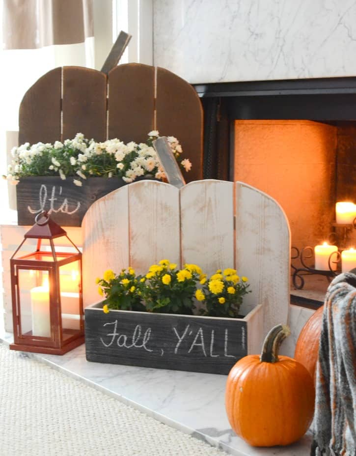 Rustic wooden pumpkin planter