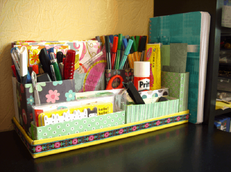 Shoebox lid desk organizer