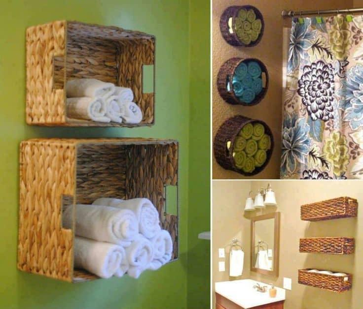 Sideways wall baskets for towels
