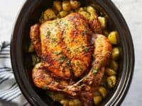 Slow cooker whole chicken with potatoes 200x150 Serving a Scrumptious Delicacy: 15 Mouth Watering Whole Chicken Crockpot Ideas