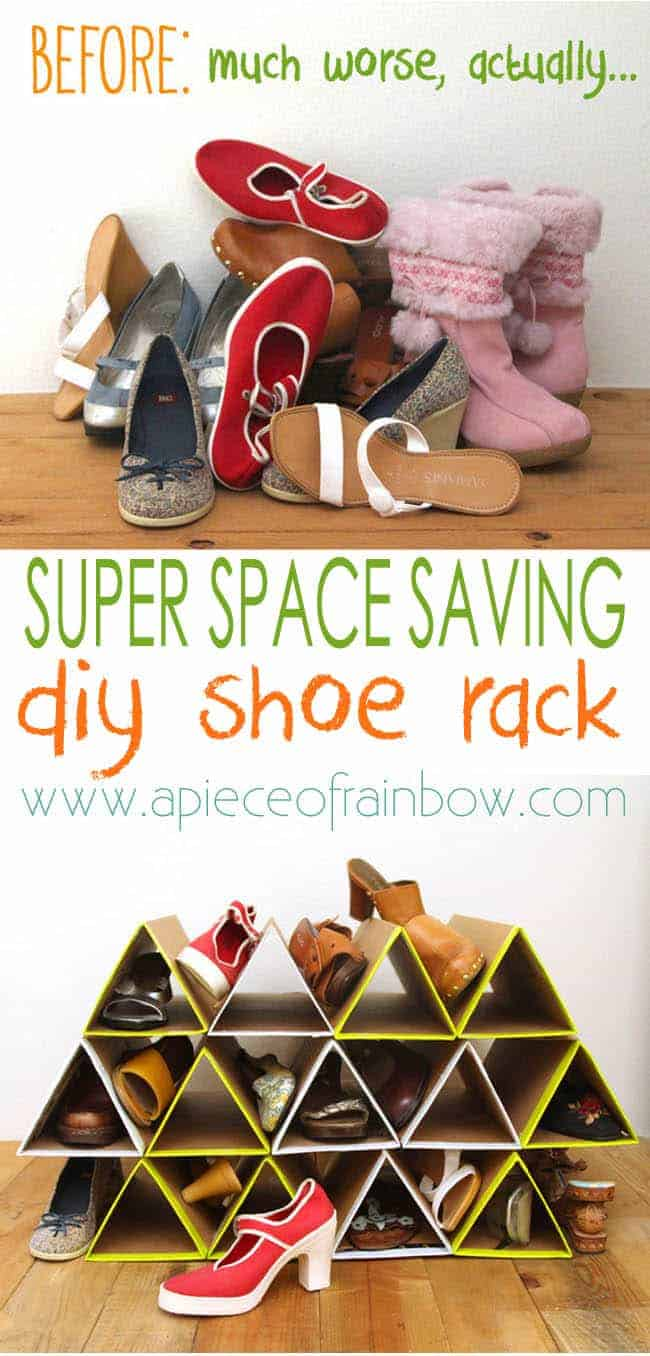 Space saving triangle shoe rack