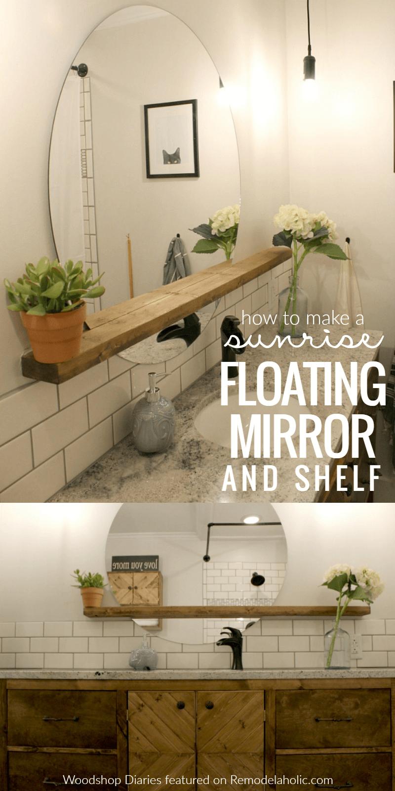 Sunrise floating mirror and shelf
