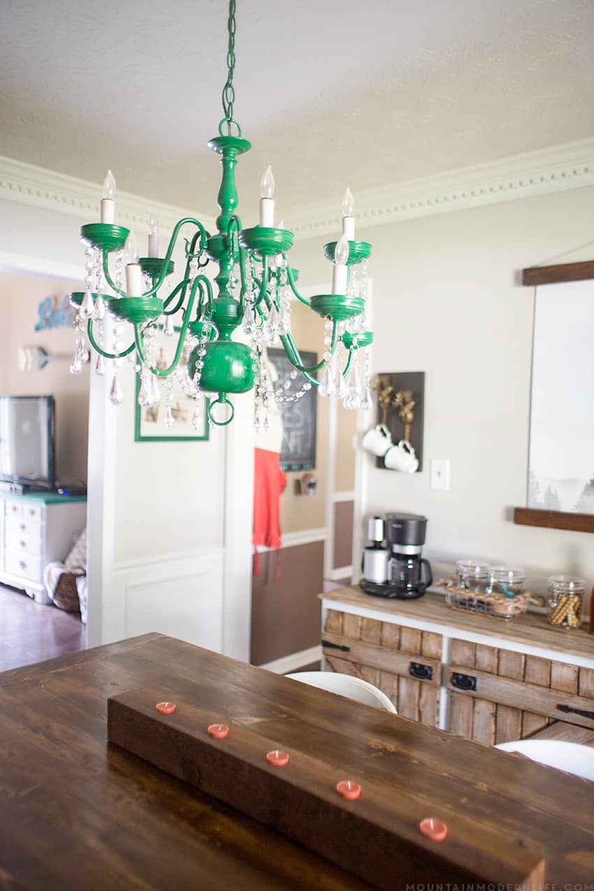 Upcycled vintage inspired chandelier