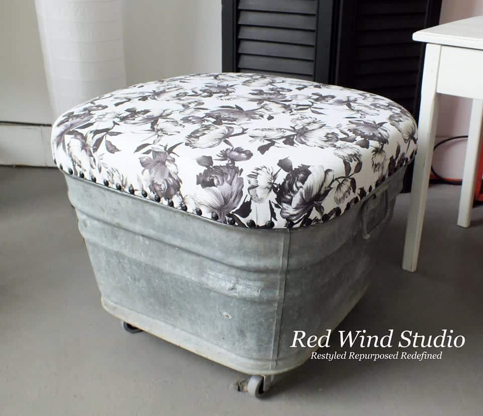 Upcycled wash tub ottoman