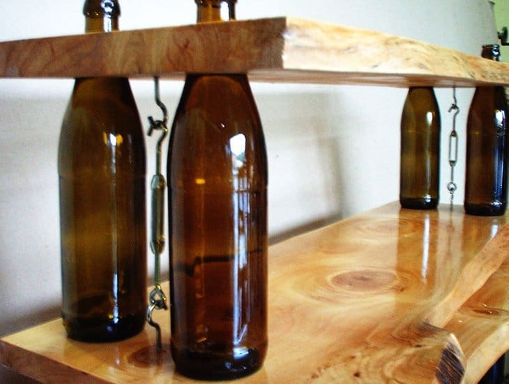 Wood and glass bottle shelving