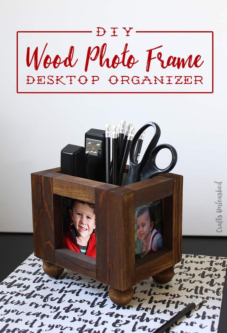 Wood photo frame desktop organizer