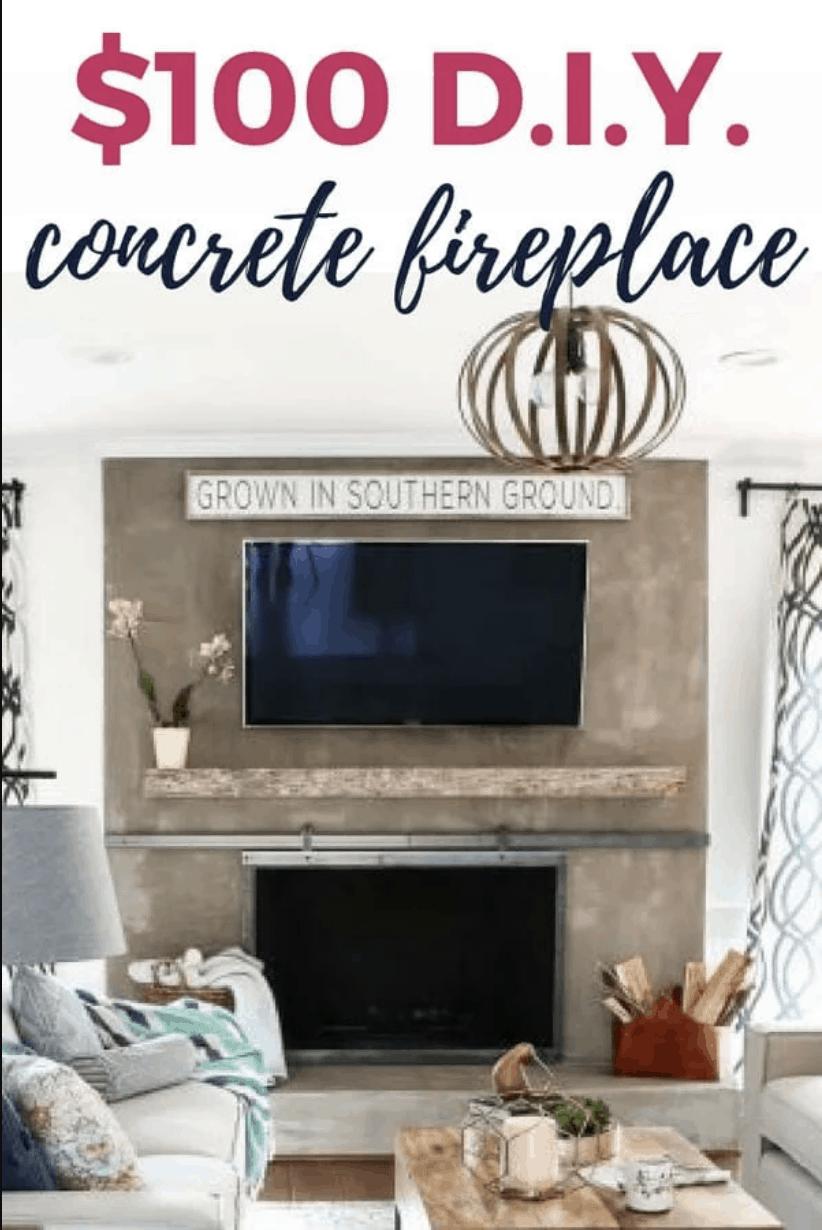 $100 DIY concrete fireplace