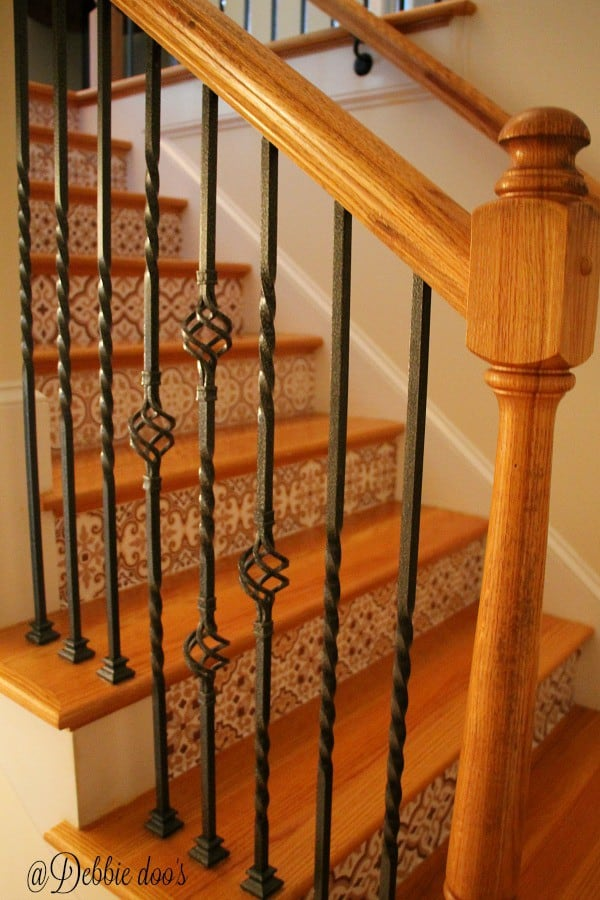 30 minute stair riser makeover