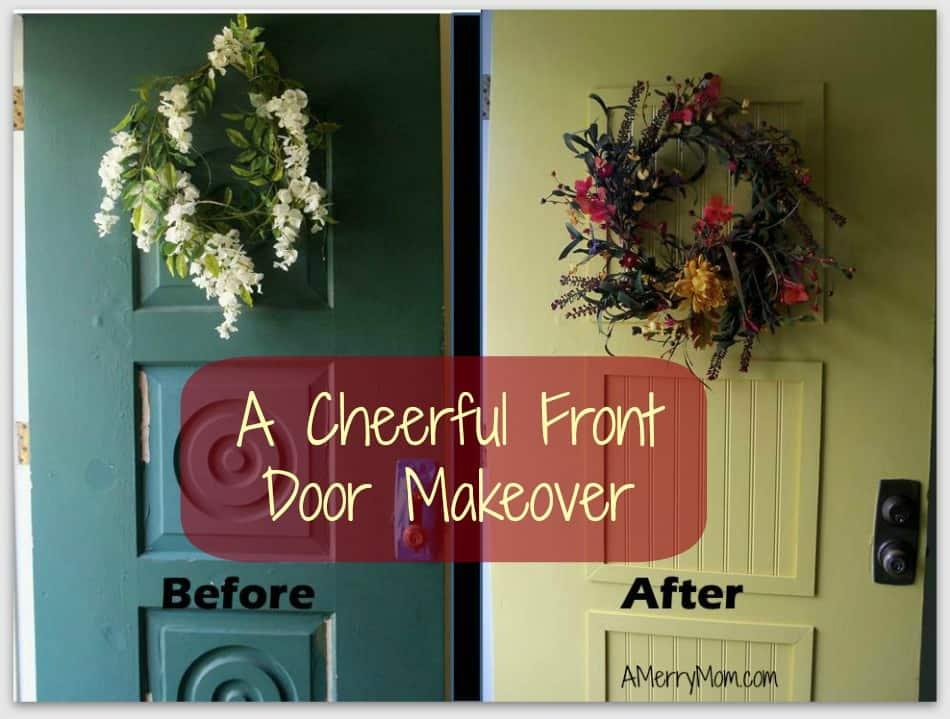 Brighten up the door with lighter paint and a darker trim