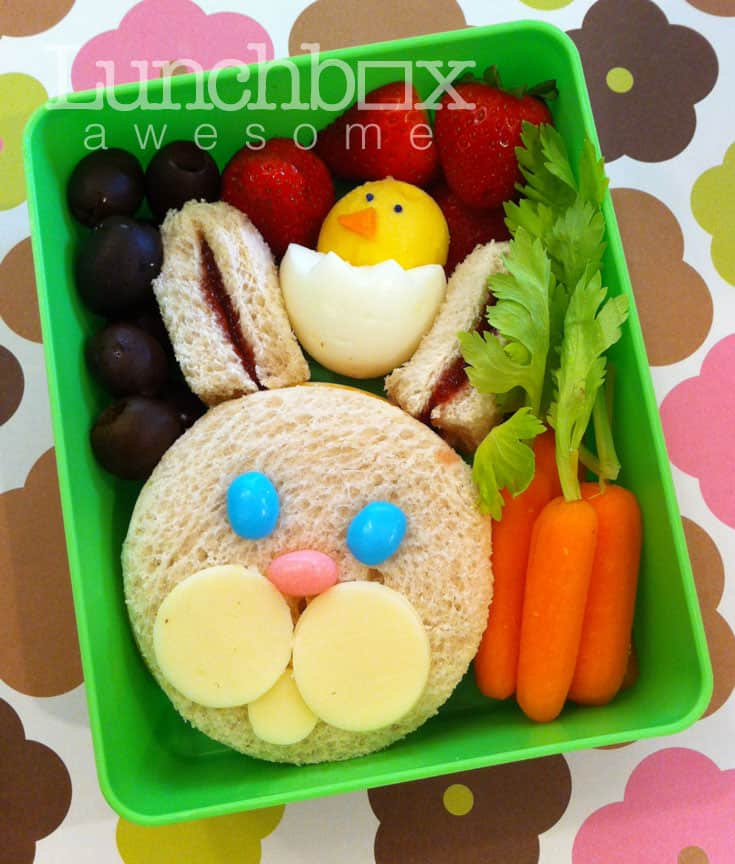 Bunny sandwich and chick hardboiled egg with carrots
