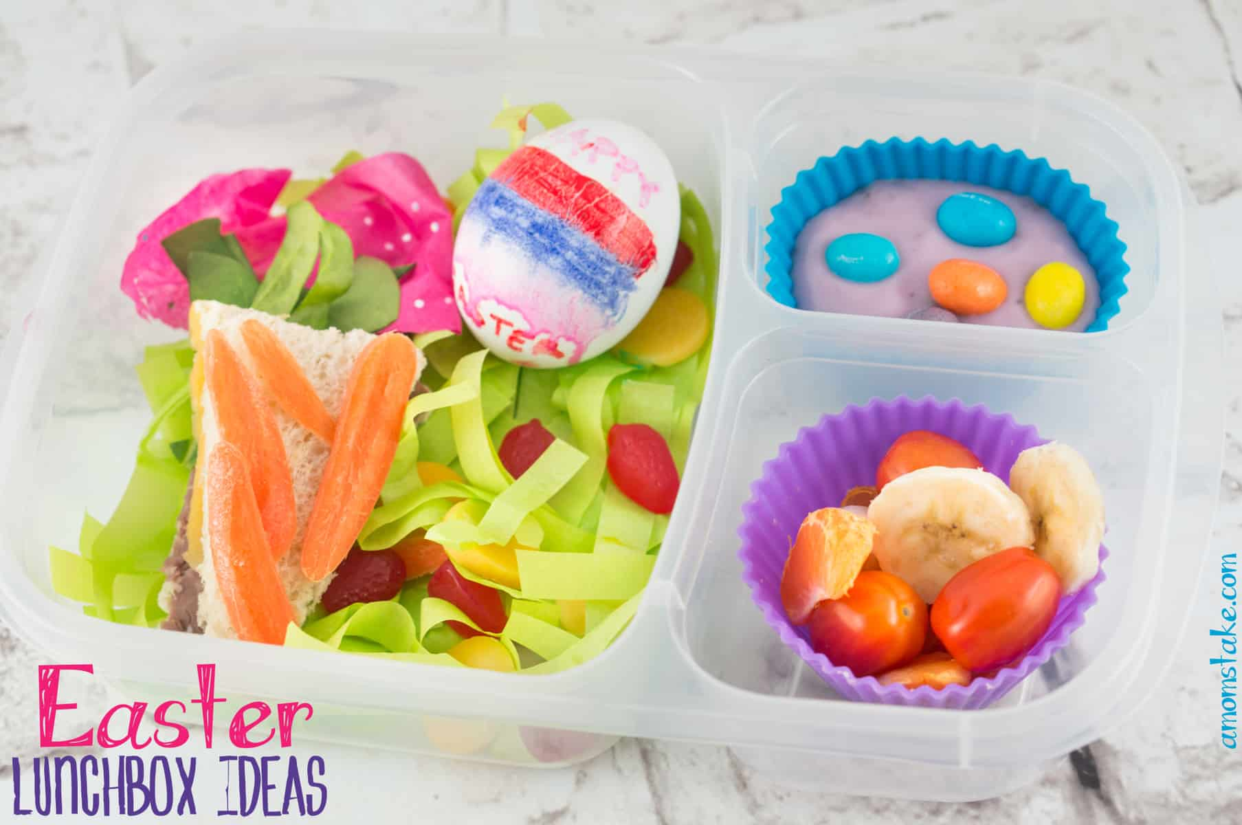 Carrot sandwich and Easter salad with deocrated hard boiled egg