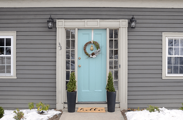 Colourful pastel front door makeover