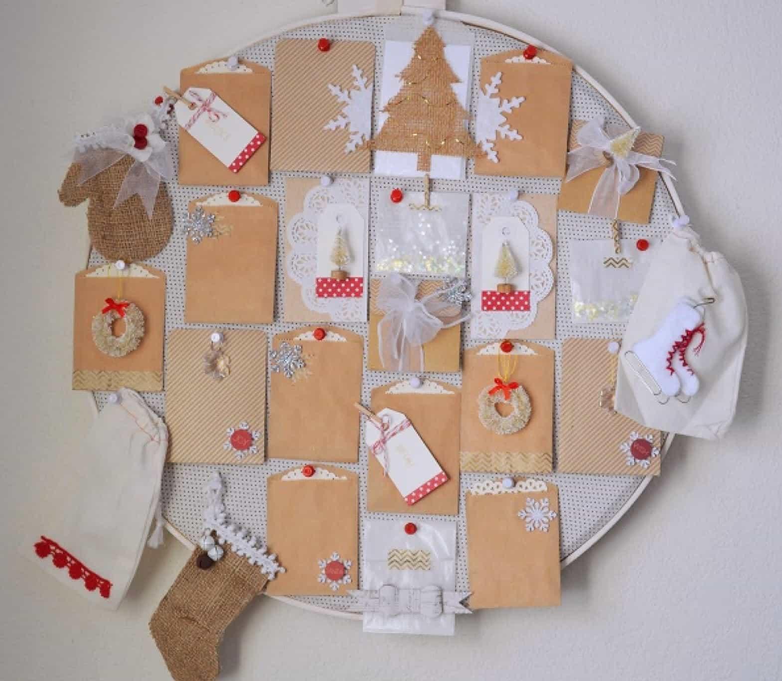 DIY embroidery hoop advent calendar
