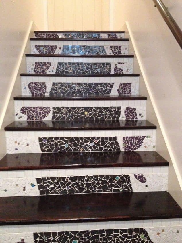 DIY mosaic stair risers