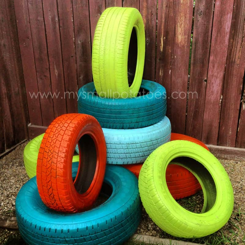 DIY painted tire climber for kids