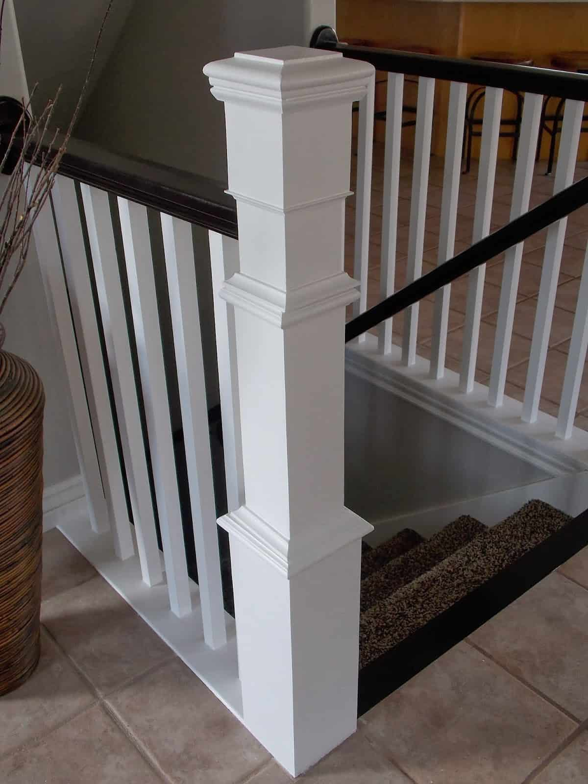 DIY stair banister rennovation using existing railing and newel post