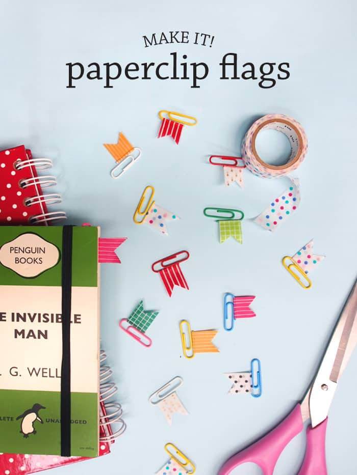 DIY washi tape paper clip flags