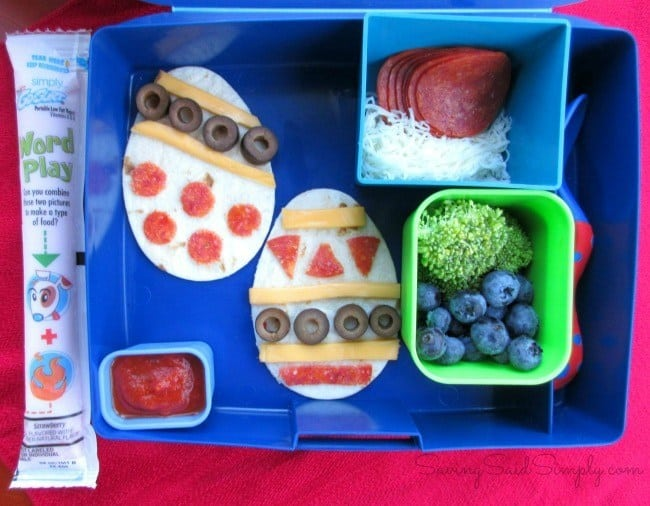 Easter egg flatbread pizza lunch