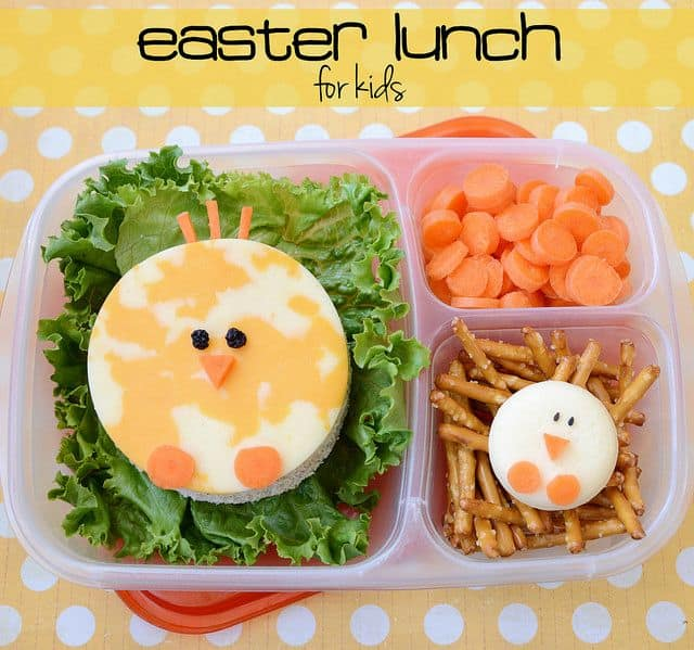 Easter lunch with cheese chicks