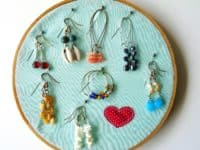 Embroidery hoop earring holder 200x150 All Too Easy: Delightful Dollar Store Embroidery Hoop Crafts