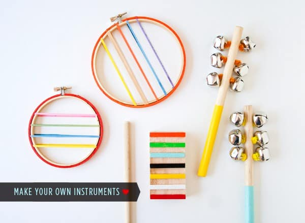 Embroidery hoop, elastic, and bell instruments