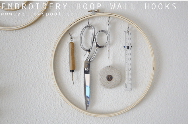 Embroidery hoop wall hooks for crafting supplies